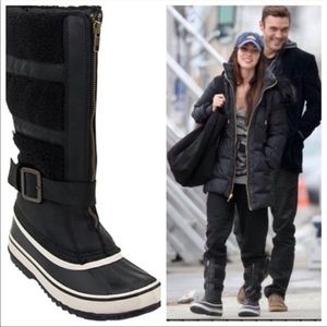 Sorel tall black white boots sz 10 Helen of tundra